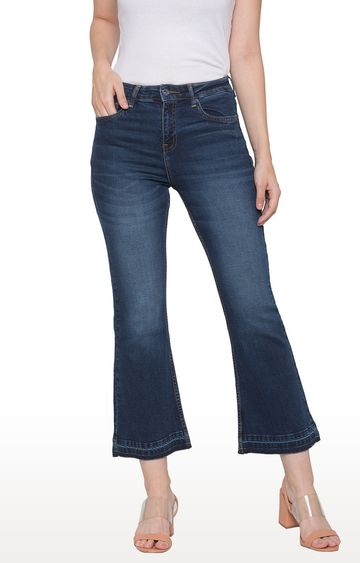 globus   Blue Solid Flared Jeans