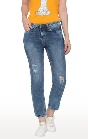 globus   Blue Ripped Cropped Jeans