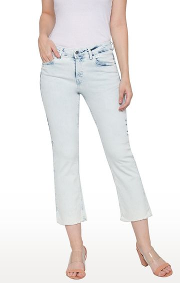 globus   Blue Solid Cropped Jeans
