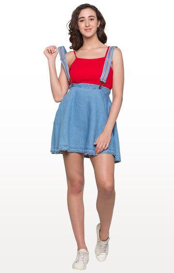 globus   Light Blue Solid Pinafore Skirt