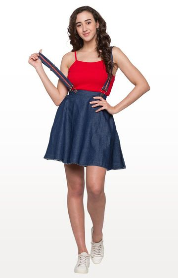 globus | Dark Blue Solid Pinafore Skirt