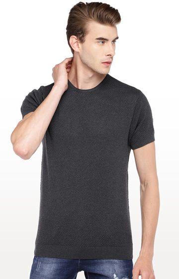 globus | Grey Self Design Round Neck T-Shirt
