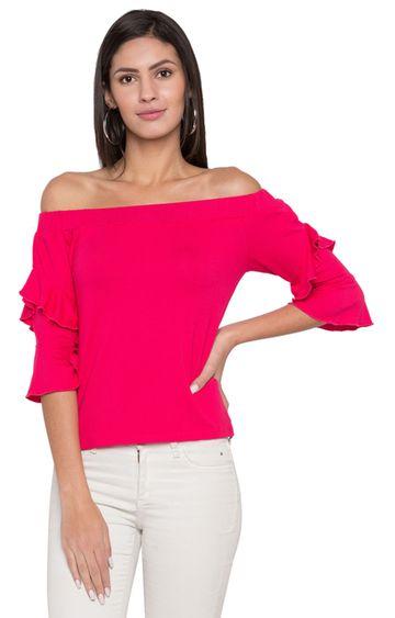 globus   Pink Solid Off Shoulder Top