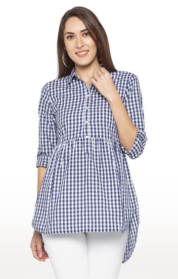 globus | Navy Checked Tunic