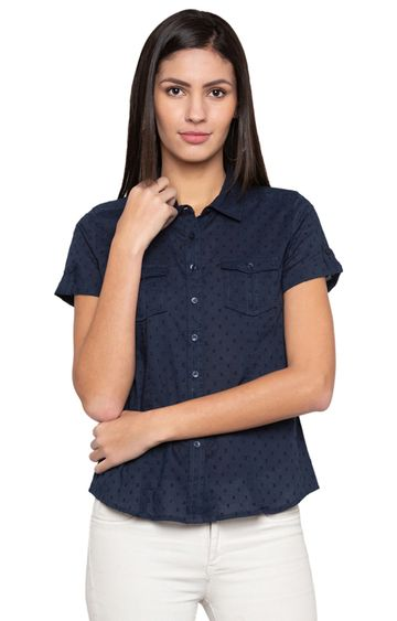 globus | Navy Solid Casual Shirt
