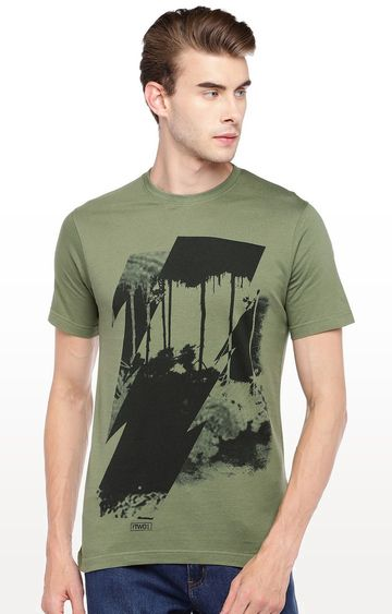 globus | Olive Green Printed Round Neck T-Shirt