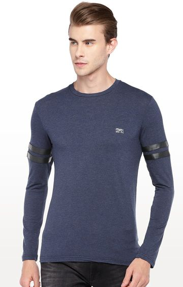 globus | Blue Solid Round Neck T-Shirt