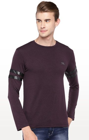 globus | Wine Solid Round Neck T-Shirt