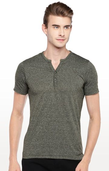 globus | Olive Green Solid Round Neck T-Shirt
