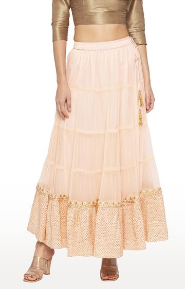 globus   Peach Printed Flared Skirt