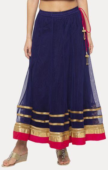 globus   Navy Blue Solid Flared Skirt