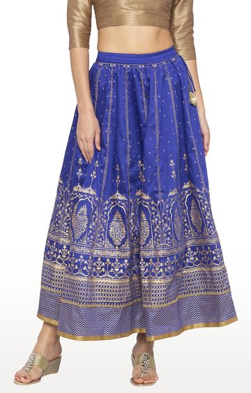 globus | Blue Printed Flared Skirt