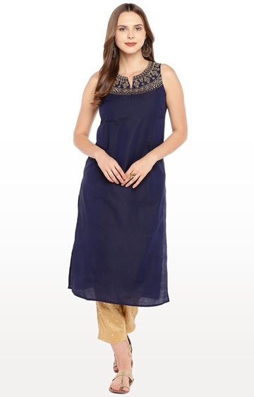 globus | Navy Blue Yoke Design Straight Kurta