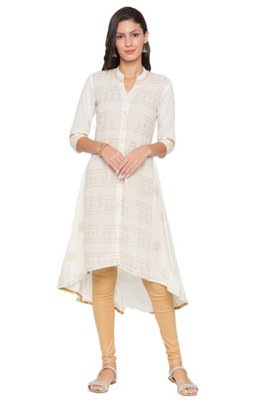 globus | Off White Printed Asymmetric Kurta