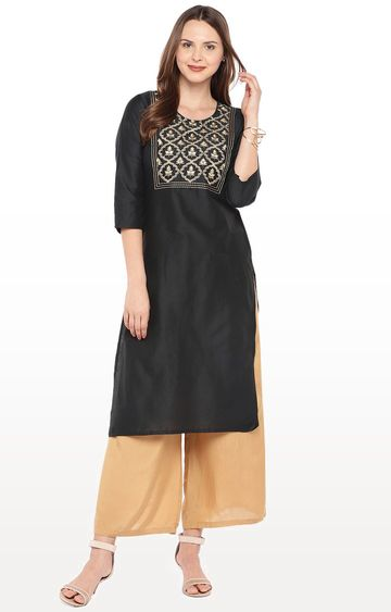 globus | Black Embroidered Straight Kurta