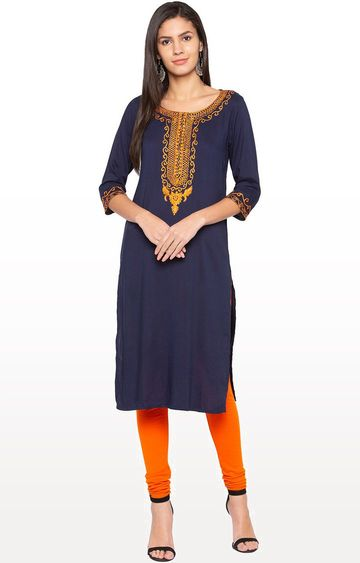 globus | Blue Embroidered Regular Kurti
