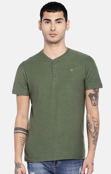 globus   Green Solid T-Shirt