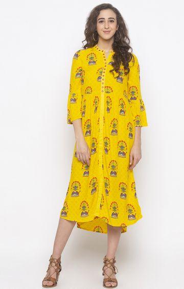 globus   Yellow Printed Shift Dress