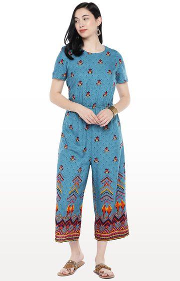 globus | Blue Printed Jumpsuit