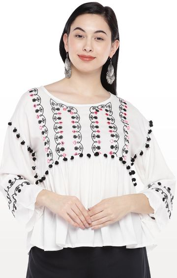 globus | White Embroidered Top
