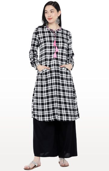 globus | White Checked Kurta