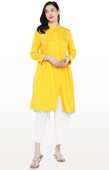 globus   Yellow Solid Tunic