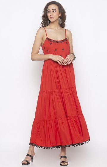 globus | Orange Embroidered Maxi Dress