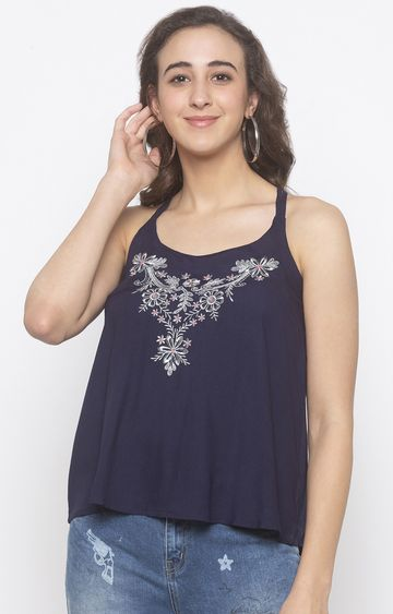 globus | Blue Embroidered Strappy Top