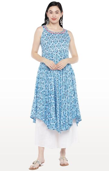 globus | Blue Printed Anarkali
