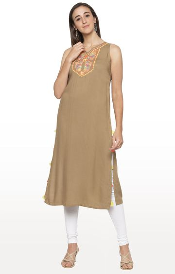 globus | Beige Embroidered Kurta