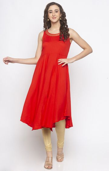 globus | Red Embroidered Tunic