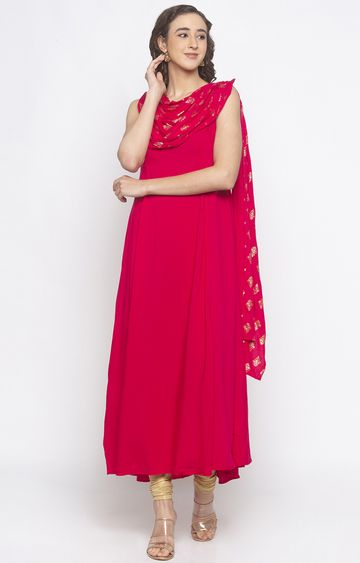 globus | Red Solid Anarkali