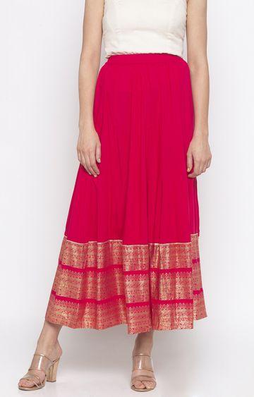 globus | Pink Printed Flared Skirt