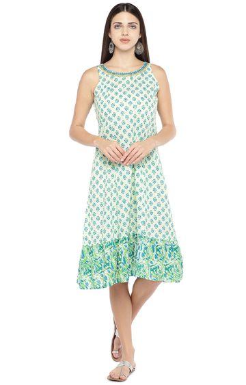 globus   Green Printed Skater Dress