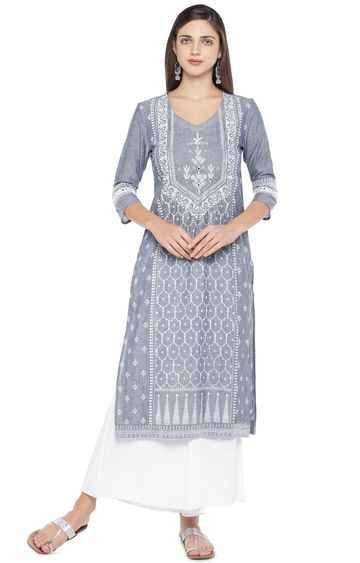 globus | Grey Embroidered Kurta