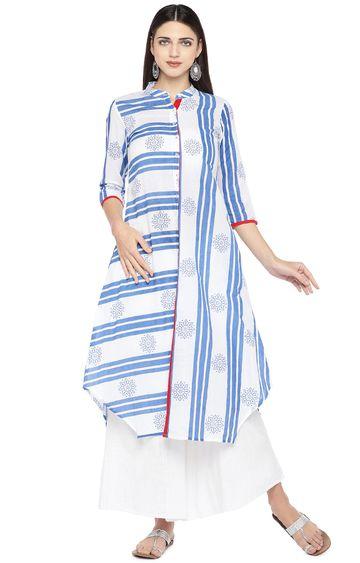 globus | Blue Striped Asymmetric Kurta