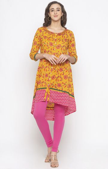 globus | Yellow Printed Asymmetric Kurti