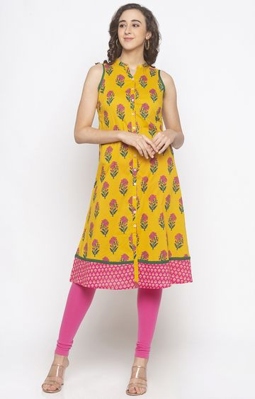 globus | Yellow Floral Anarkali