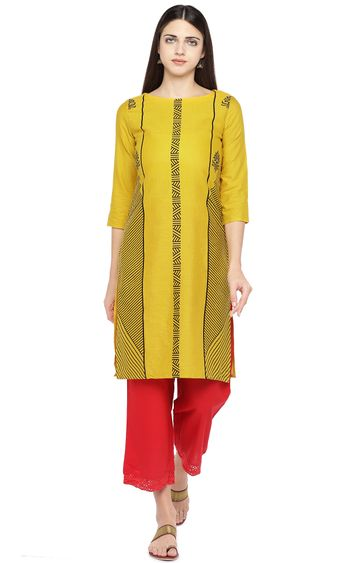 globus | Yellow Printed Regular Kurti