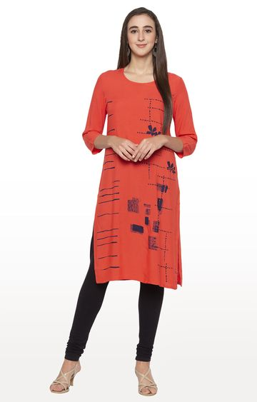 globus | Orange Printed Regular Kurti