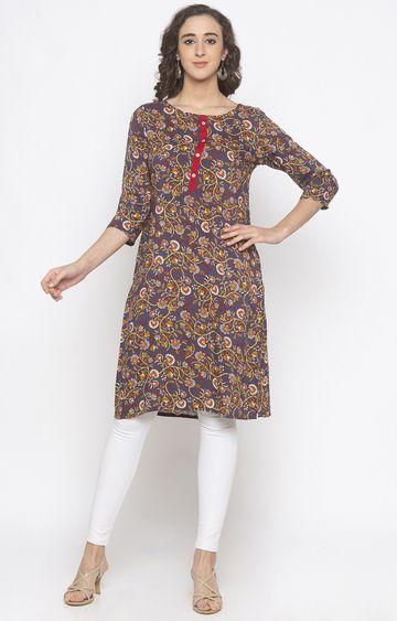globus | Brown Printed Regular Kurti