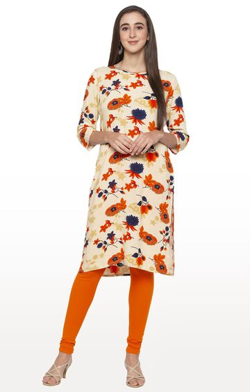 globus | White Floral Regular Kurti