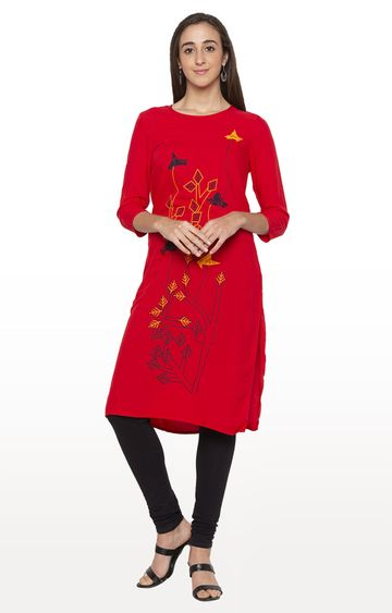 globus | Red Printed Regular Kurti