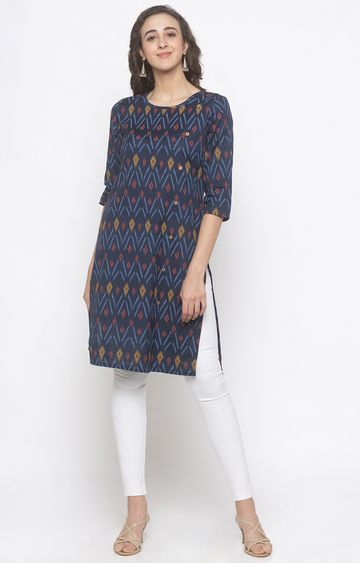 globus | Blue Printed Regular Kurti