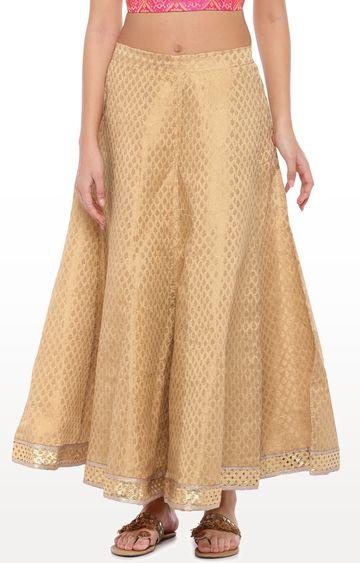 globus   Gold Printed Flared Skirt