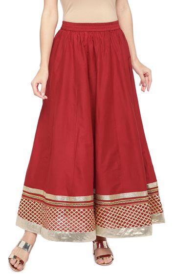 globus | Red Printed Flared Skirt