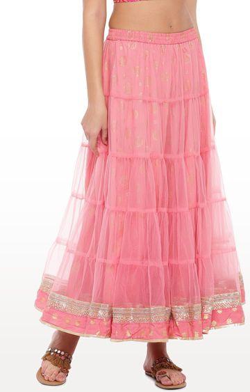 globus   Pink Printed Flared Skirt