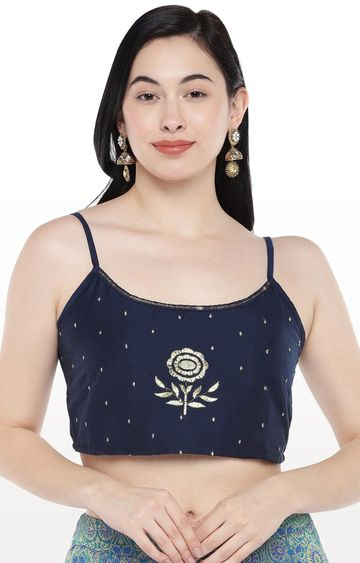 globus | Blue Embroidered Crop Top