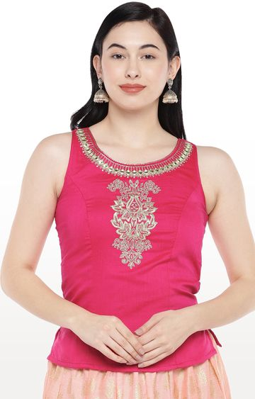 globus | Pink Embroidered Top
