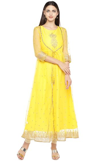 globus | Yellow Embroidered Anarkali